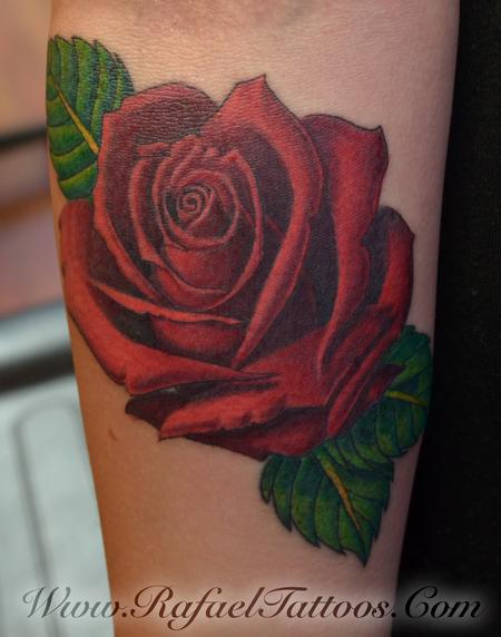 Tattoos - Roed rose on Forearm - 110024