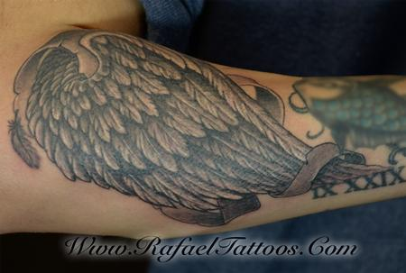 Tattoos - Black and Grey wing on Forearm - 111487