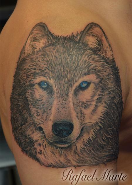 Tattoos - Blue eyed black and grey wolf - 130483
