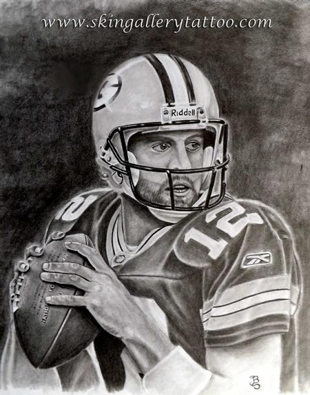 Tattoos - Aaron Rodgers pencil sketch  - 96143