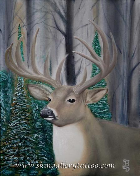 Tattoos - Whitetail Buck Oil on Canvas - 96146