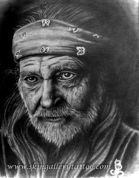 Tattoos - Willie Nelson pencil sketch - 96145