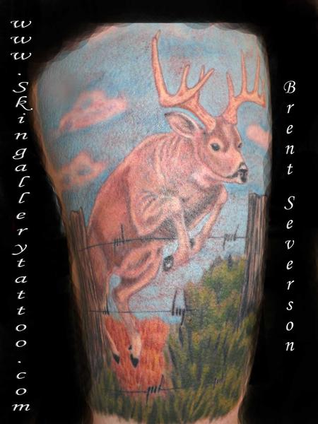 Brent Severson - Deer Jumping Fence Tattoo