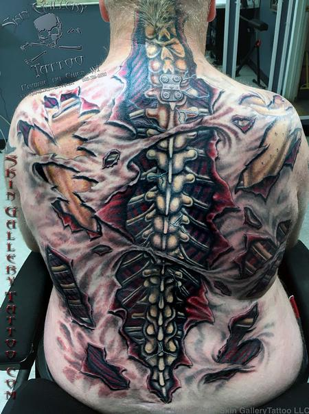 Tattoos - Ripped Skin Color Backpiece - 121694