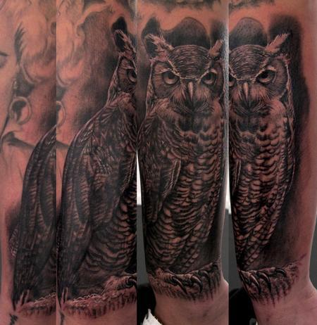 Stefano Alcantara - Owl tattoo