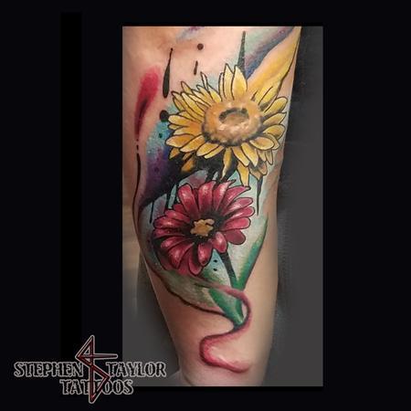 creative colorful watercoloresque flowers Tattoo Design
