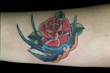 Traditional bird and rose Tattoo Design