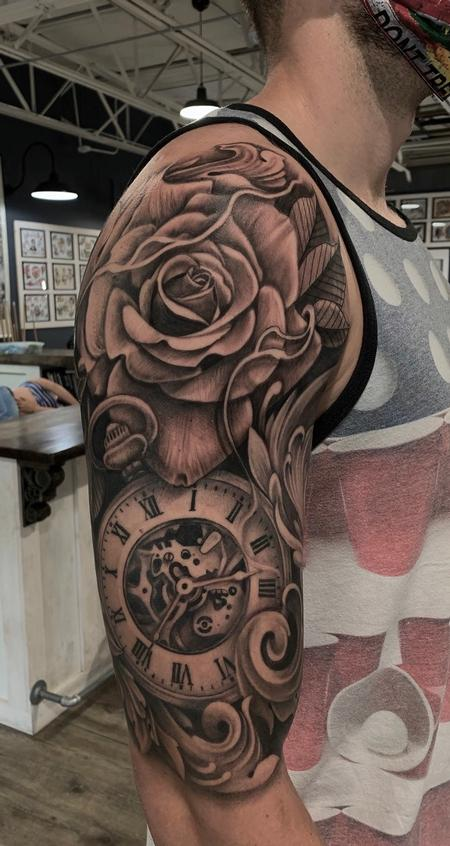 Tattoos - Rose and clock - 142176