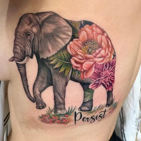 Tattoos - Elephant and flowers - 142175