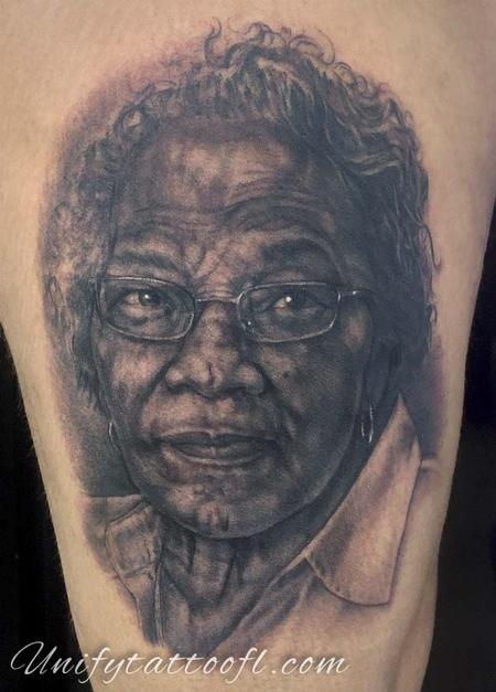 Tattoos - Grandmother Portrait Tattoo - 129397