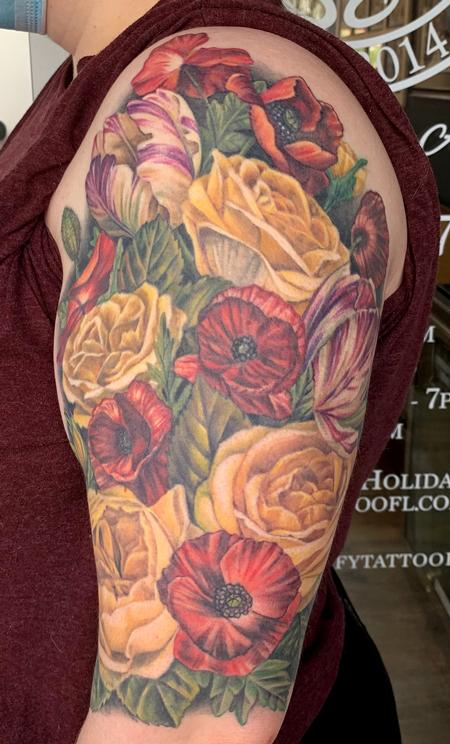 Floral half sleeve Tattoo Design
