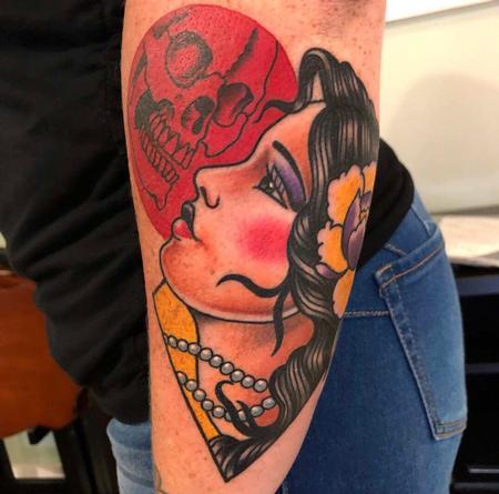 Tattoos - Traditional Girl Head & Skull - 139715