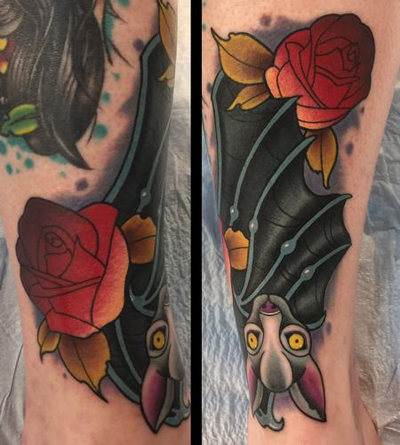 Tattoos - Bat with roses - 139826