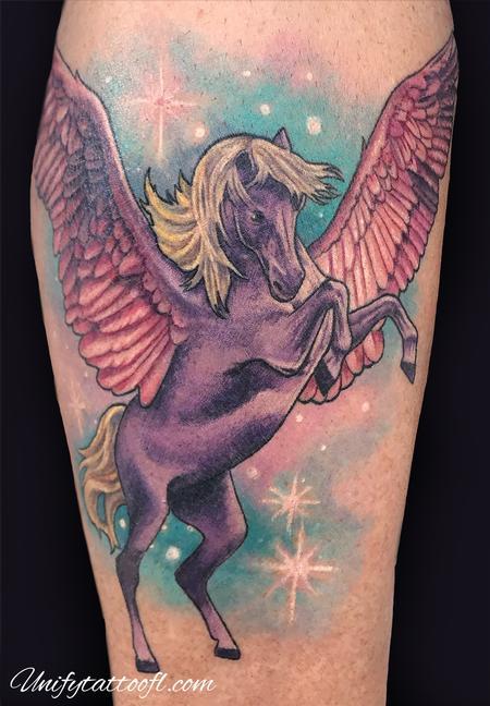 Tattoos - Pegasus on Leg - 134808