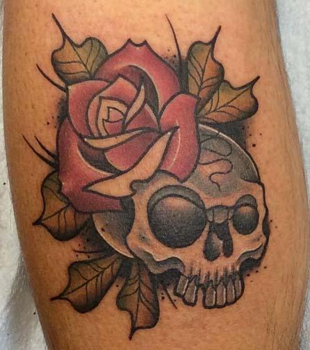 Tattoos - Skull with rose - 129350