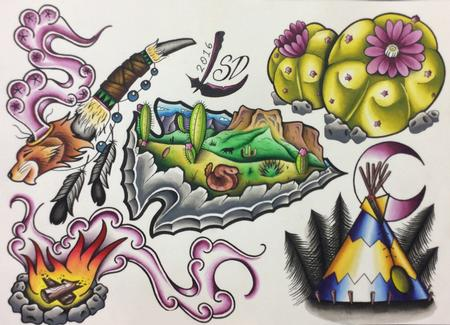 Tattoos - Native American Flash Sheet - 125379