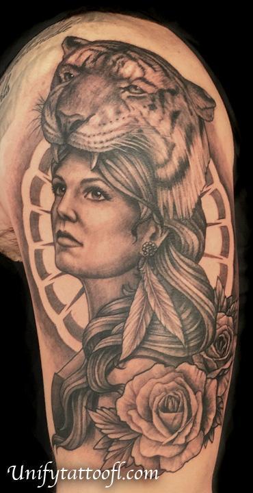 Tattoos - Girl with Tiger Headdress - 117025