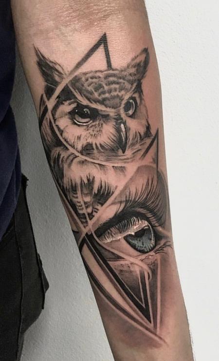 Tattoos - Owl and Eye Tattoo - 138801