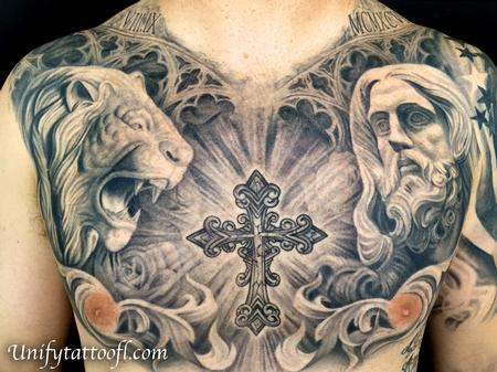 Tattoos - Black and Gray Chest Tattoo - 119186